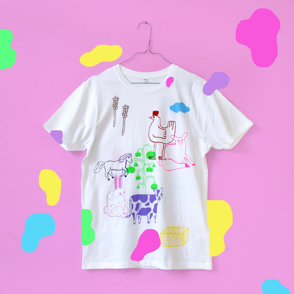 Imperfect 13 Color FARM ANIMAL Tee (sale) Hand Printed Shirt by Eva Stalinski  flat lay shirt illustration
