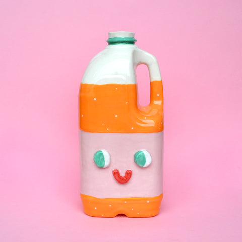Ceramic Orange Juice Jug with Eyes (Not a Vase!)