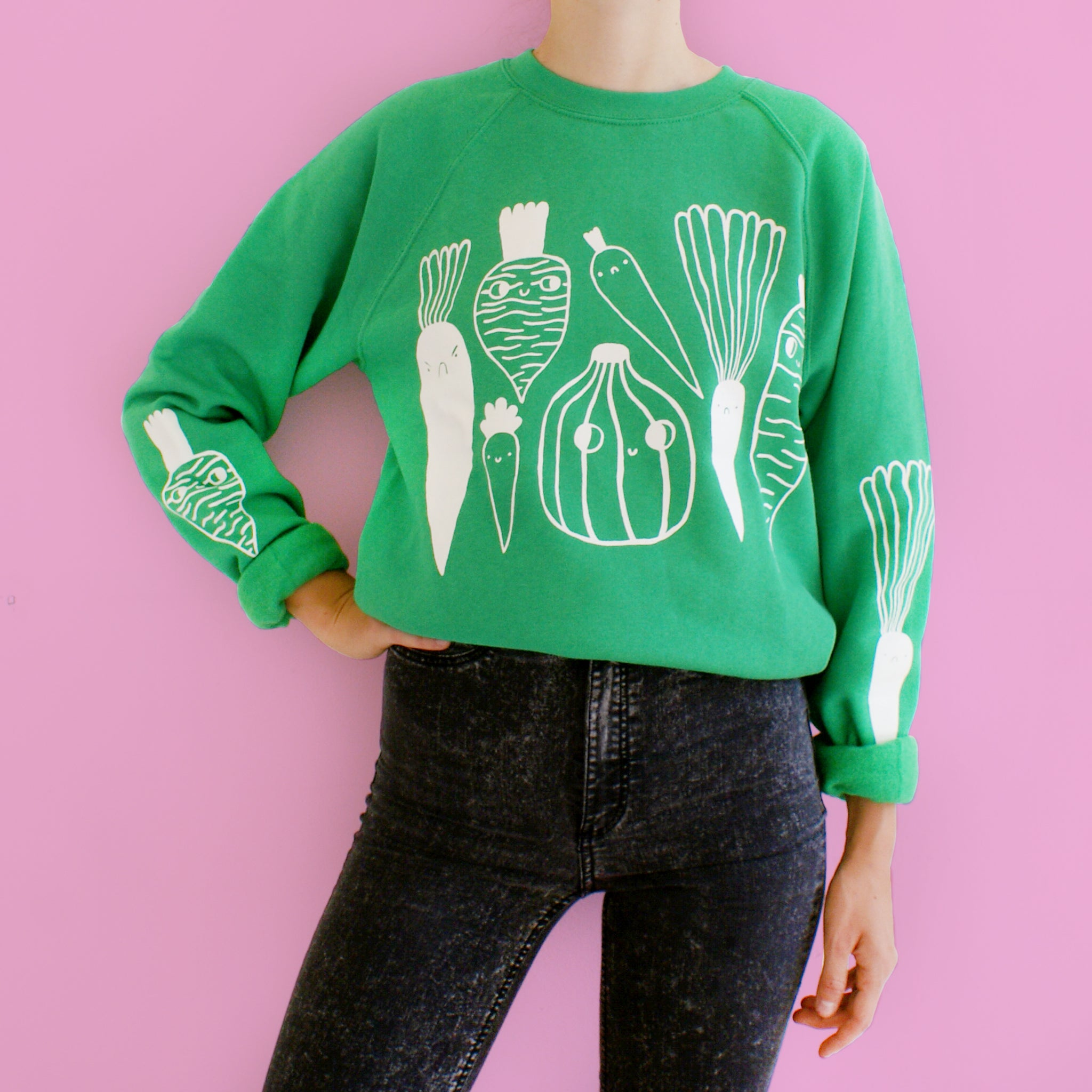 Imperfect BRIGHT GREEN Veggie Sweater (sale)