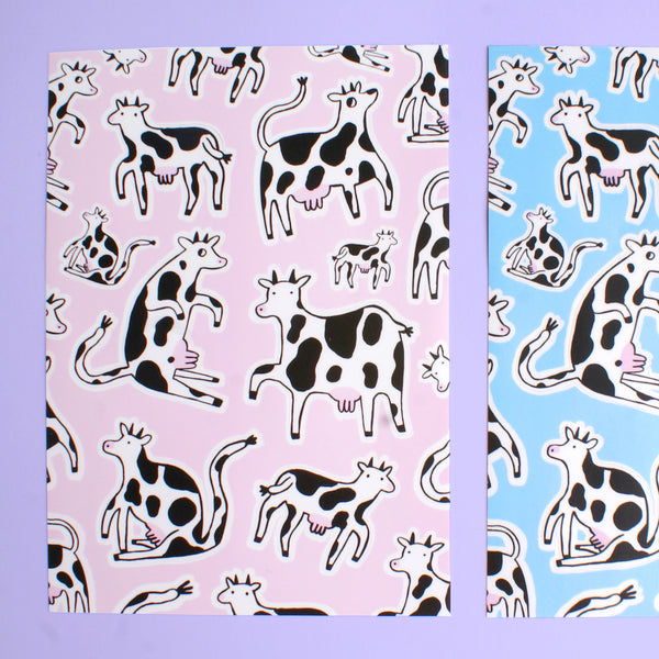 Pink White and Black Cow Illustrations by Eva Stalinski on Heavy Duty Matte Vinyl Sticker Sheet