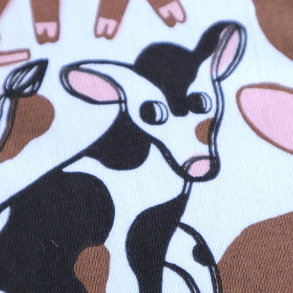 Close up Detail of Misprinted, Imperfect White Hand Screen Printed Pigs in Mud Illustration Long Sleeve in Organic Cotton by Print Maker Eva Stalinski 2020