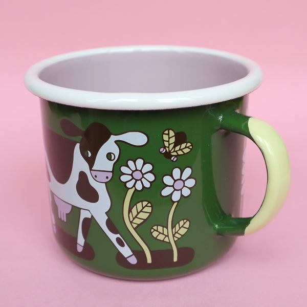 'Friends Not Food' Enamel Mug