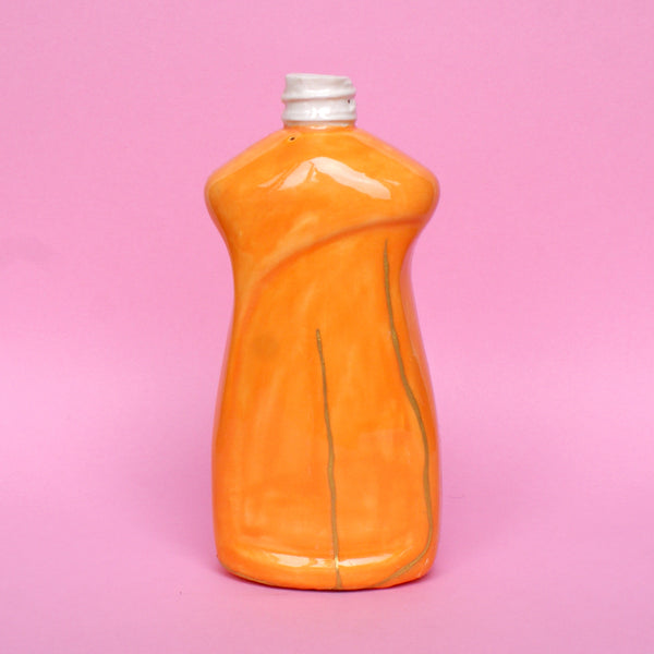 Ceramic Kintsugi Dish Soap Bottle in Orange and Pink