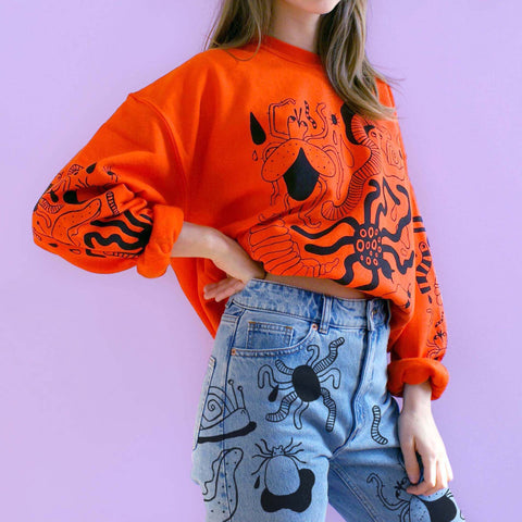 Imperfect ORANGE Bug Sweatshirt (sale) by Eva Stalinski halloween insect sweater model picture bug jeans