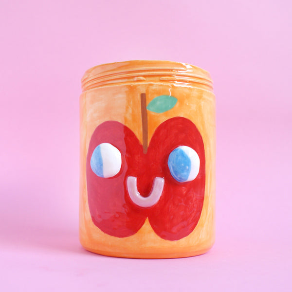 Two Sided Ceramic Apple/Pear Fruit Face Jar in Orange