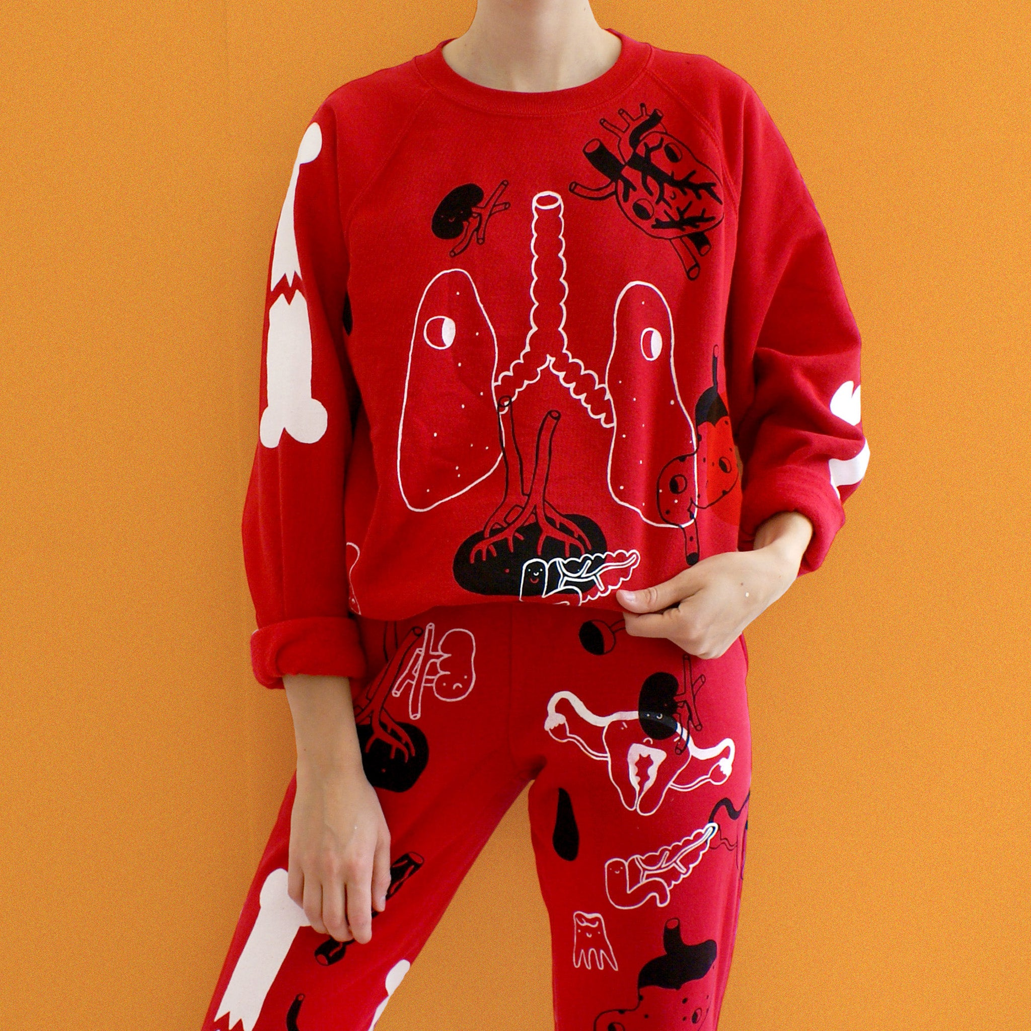 Handprinted ORGAN Sweatshirt ALL OVER PRINT