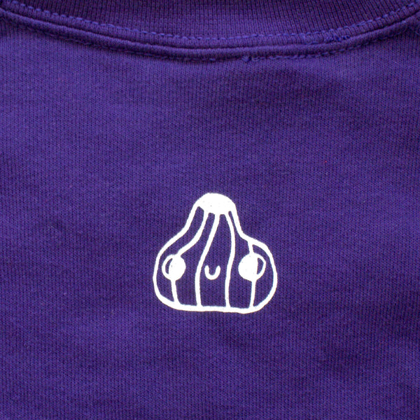 Imperfect PURPLE Veggie Sweater by illustrator Eva Stalinski Screen Printed Sweater close up detail back print little garlic bulb illustration print