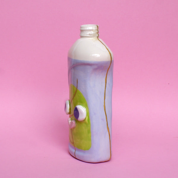 Ceramic Kintsugi Dish Soap Bottle in Purple and Green