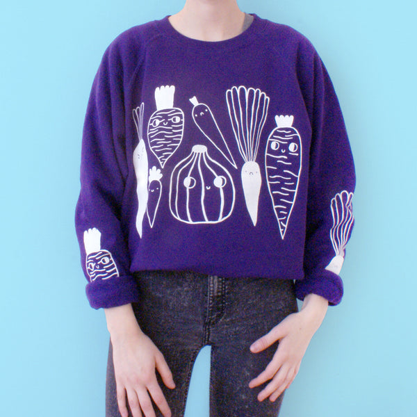 Imperfect PURPLE Veggie Sweater by illustrator Eva Stalinski Screen Printed Sweater model picture