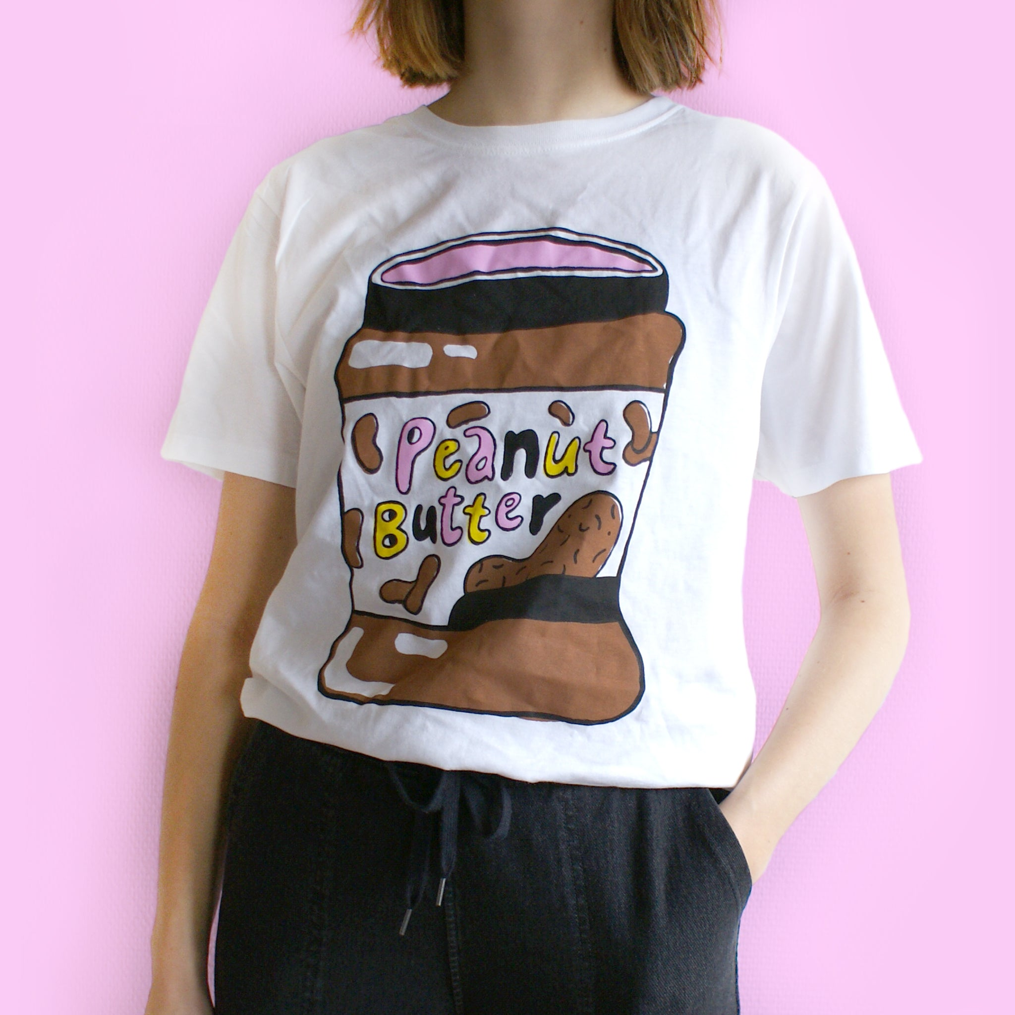 Hand Printed Peanut Butter Tee (NO JELLY) Size XL