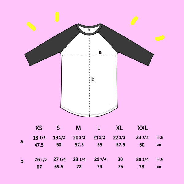 Black COW Raglan Baseball Shirt illustration tee by eva stalinski size chart