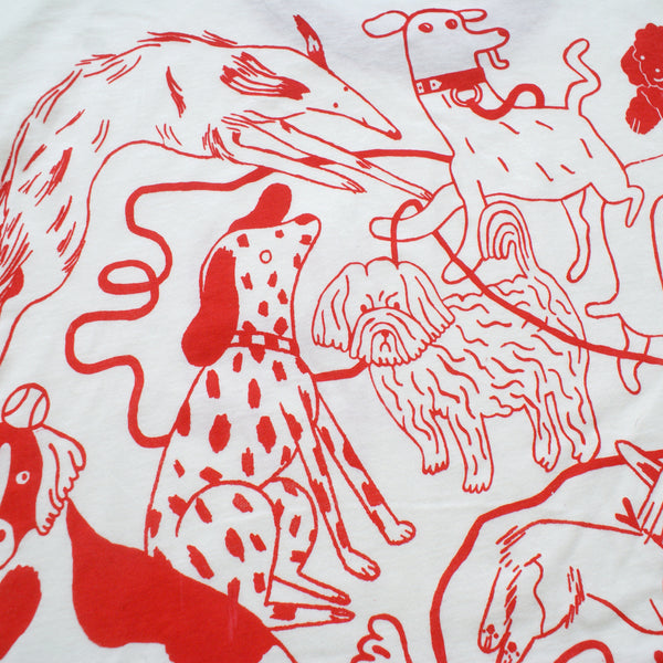 RED and CREAM Dog Park Ringer Tee T shirt illustration and screen print collaboration between Lizzy O'Donnell and Eva Stalinski close up detail back print