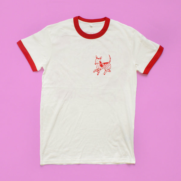 RED and CREAM Dog Park Ringer Tee T shirt illustration and screen print collaboration between Lizzy O'Donnell and Eva Stalinski flat lay front shirt