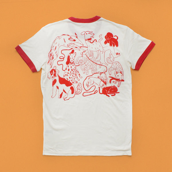 RED and CREAM Dog Park Ringer Tee T shirt illustration and screen print collaboration between Lizzy O'Donnell and Eva Stalinski flat lay back print shirt
