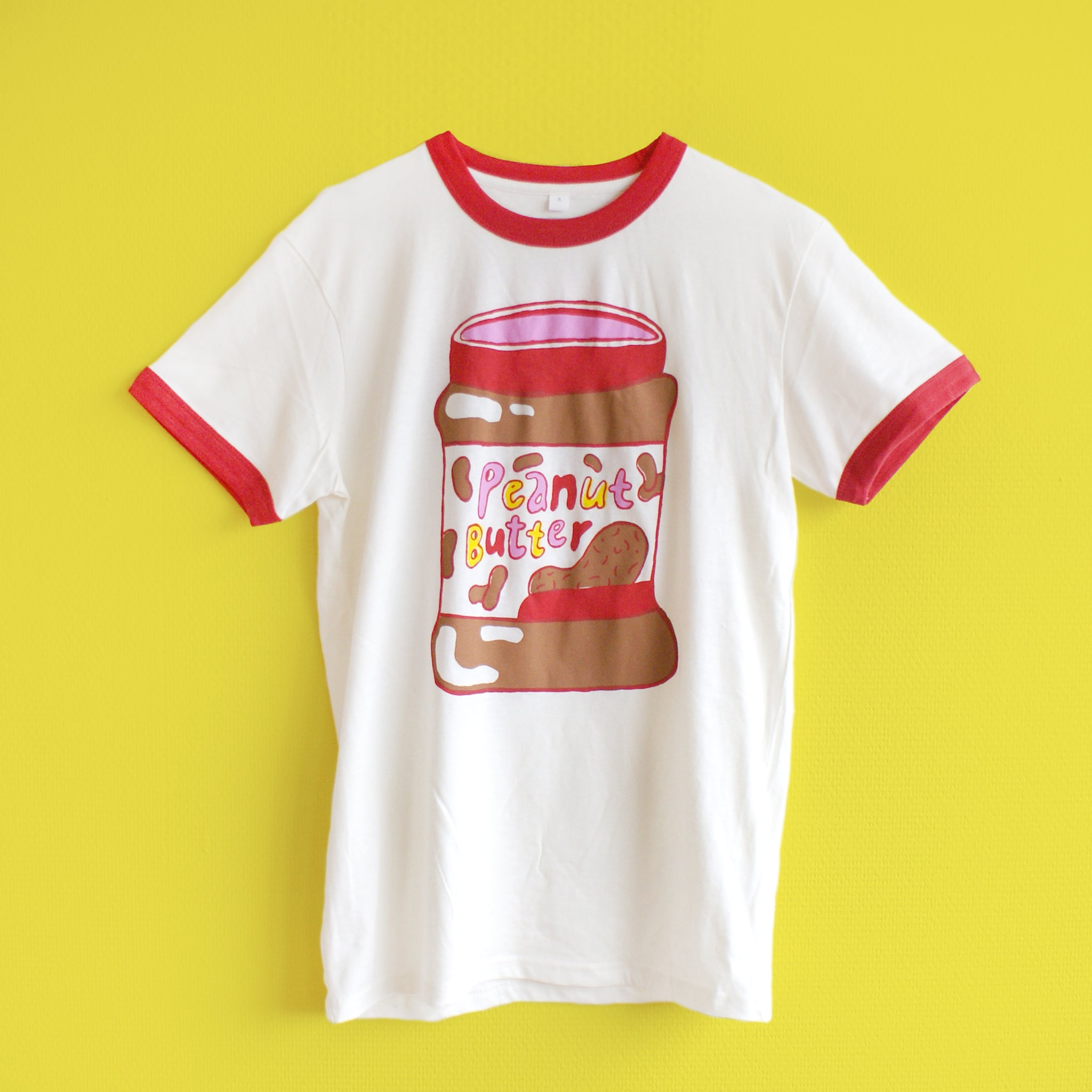 Hand Printed Red and Cream Two Sided Peanut Butter & Jelly Ringer Tee