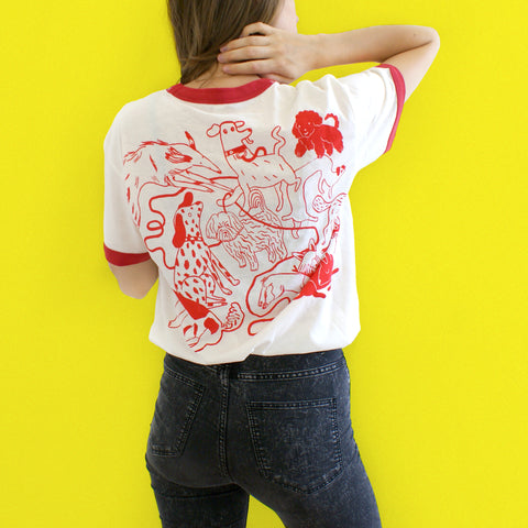 RED and CREAM Dog Park Ringer Tee T shirt illustration and screen print collaboration between Lizzy O'Donnell and Eva Stalinski model picture back print shirt