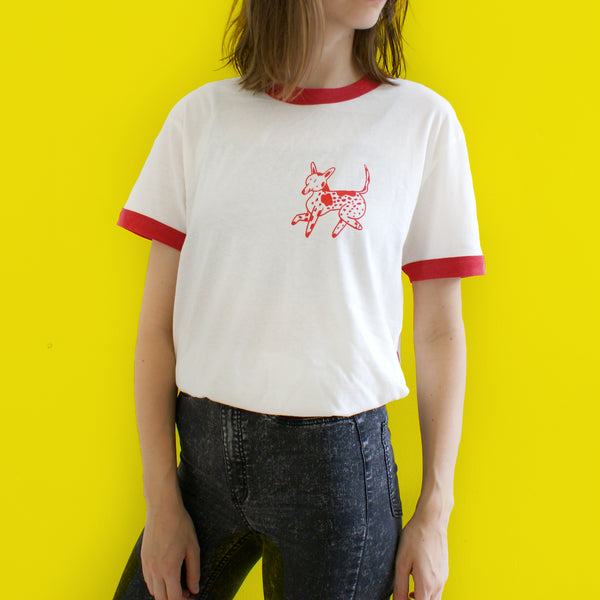 RED and CREAM Dog Park Ringer Tee T shirt illustration and screen print collaboration between Lizzy O'Donnell and Eva Stalinski model picture front shirt