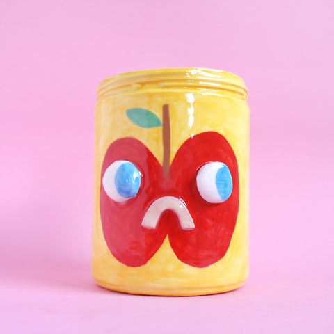 Two Sided Ceramic Apple/Pear Fruit Face Jar in Yellow