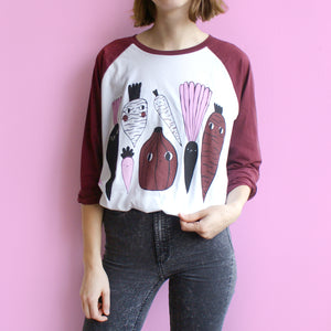 SCORCHED or MISPRINTED 3 Color Veggie Raglan Baseball Tee in Maroon and White