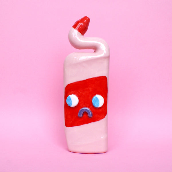 Pink and Red Ceramic Toilet Cleaner Bottle with Eyes