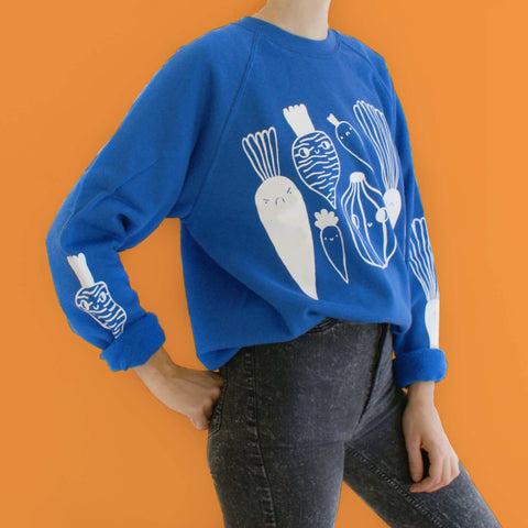 Royal Blue Veggie Sweater by Eva Stalinski model picture