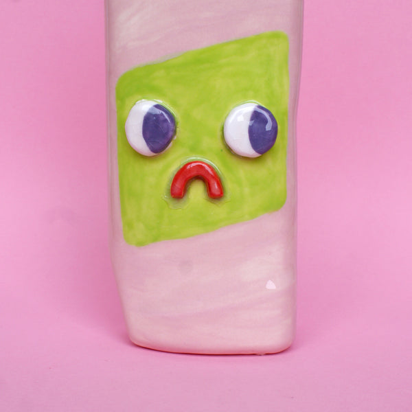 Pink and Green Ceramic Toilet Cleaner Bottle with Eyes
