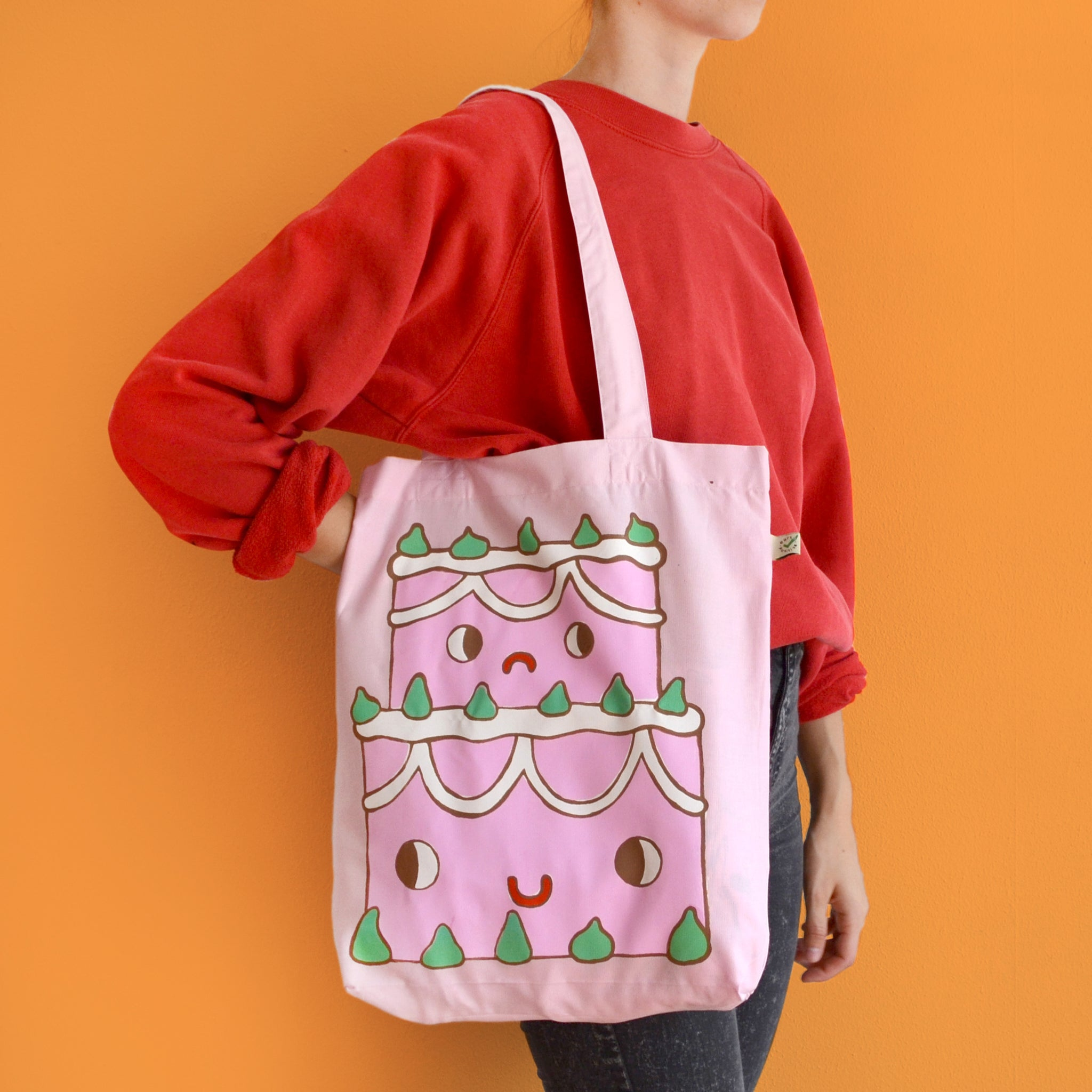 IMPERFECT Hand Printed STRAWBERRY CAKE Tote Bag (100% Organic Cotton)