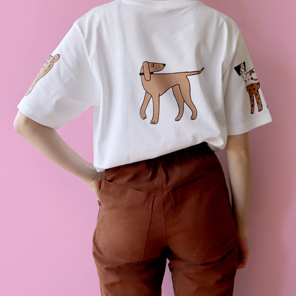 Back view of Hand Screen Printed White, Brown and Black Dog T-shirt by Eva Stalinski 2020