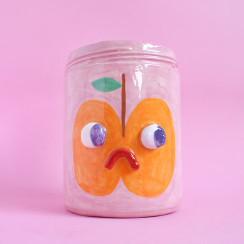 Two Sided Ceramic Apple/Pear Fruit Face Jar in Pink