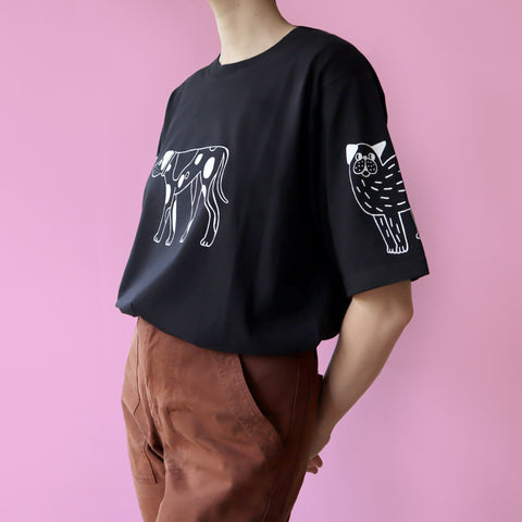 Black Hand Printed DOGS Tee