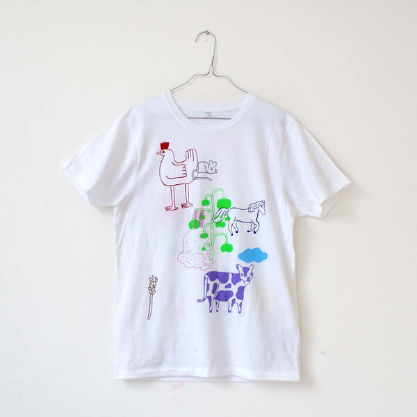 Imperfect 13 Color FARM ANIMAL Tee (sale) Hand Printed Shirt by Eva Stalinski unique