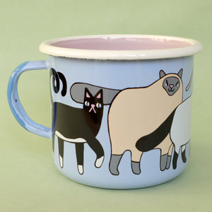 Light Blue, Pink, Cream and Grey Enamel Cats Design Mug by Illustrator Eva Stalinski Featuring Sacred Birman, European British Shorthair, Kitten and Hairless Sphynx Cats, 2021. Produced by Family Owned Polish Factory Emalco Enamelware