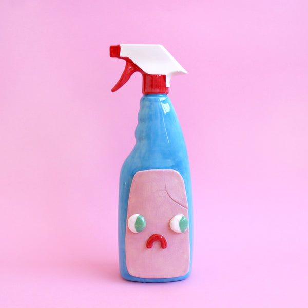 Sad Ceramic Glass Cleaner Spray Bottle with Eyes (CRACKED)