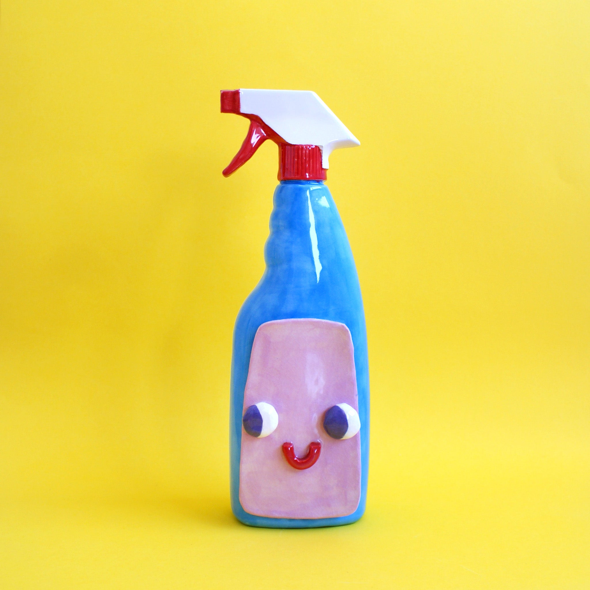 Happy Ceramic Glass Cleaner Spray Bottle with Eyes
