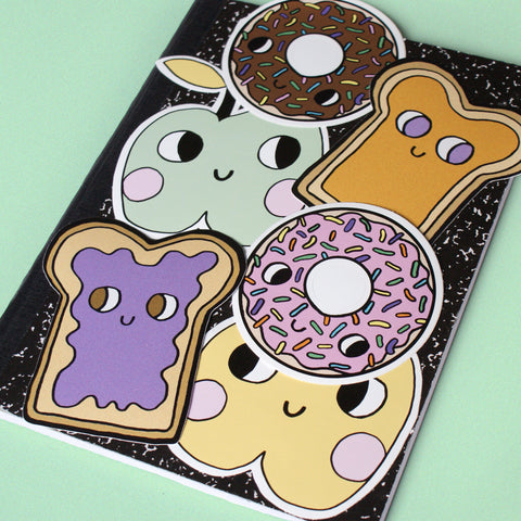 Lunch Box Food with eyes illustration sticker set by Eva Stalinski illustrator peanut butter jelly sandwich donuts apples