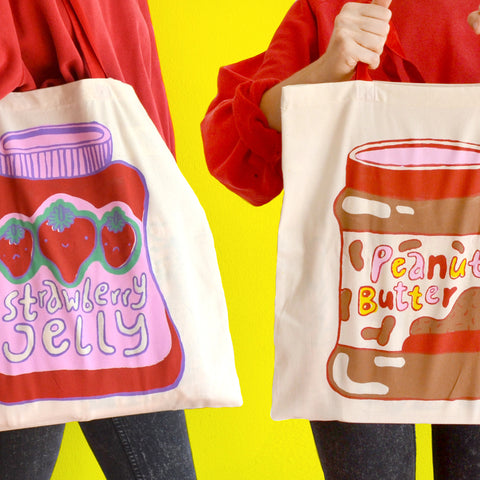 Hand Printed Two Sided Peanut Butter & Jelly Tote Bag