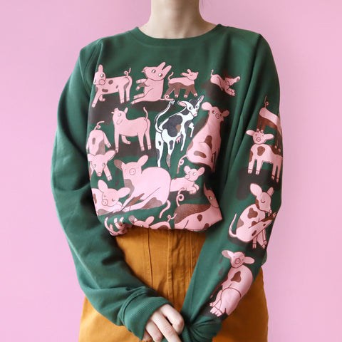 Hand Printed Forest Green PIGS Sweatshirt (Unisex)