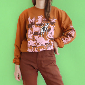 Hand Printed Burnt Orange PIGS Sweatshirt (Unisex)