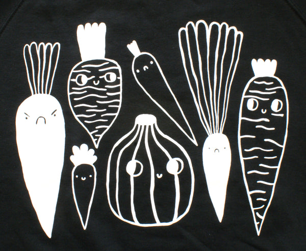 BLACK and White Veggie Sweatshirt by Eva Stalinski big screen print close up
