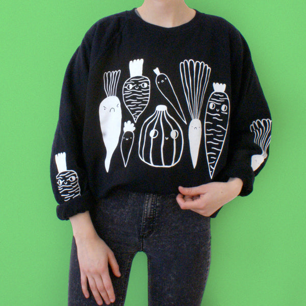 BLACK and White Veggie Sweatshirt by Eva Stalinski on model