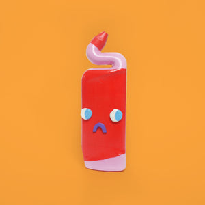 Sad Red Ceramic Toilet Cleaner Bottle with Eyes