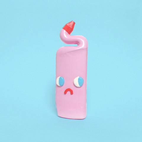 Sad Pink Ceramic Toilet Cleaner Bottle with Eyes