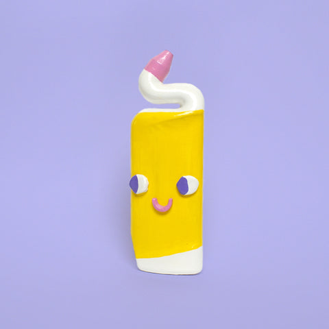 Happy Yellow and White Ceramic Toilet Cleaner Bottle with Eyes