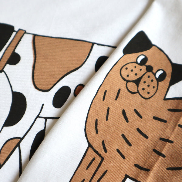 Close Up Detail of Hand Screen Printed White, Brown and Black Dog T-shirt by Eva Stalinski 2020