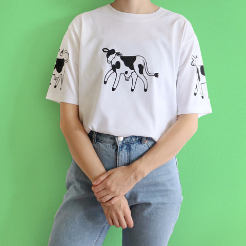 IMPERFECT White Hand Printed COWS Tee