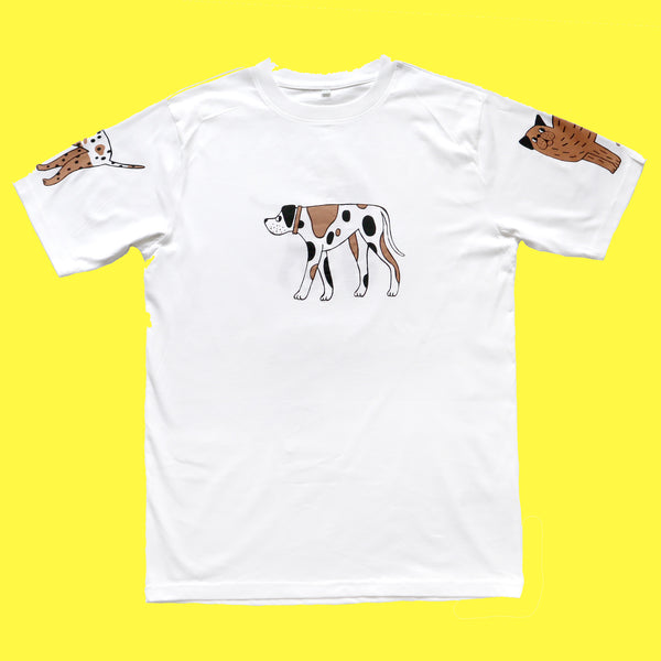 Flat Lay Hand Screen Printed White, Brown and Black Dog T-shirt by Eva Stalinski 2020