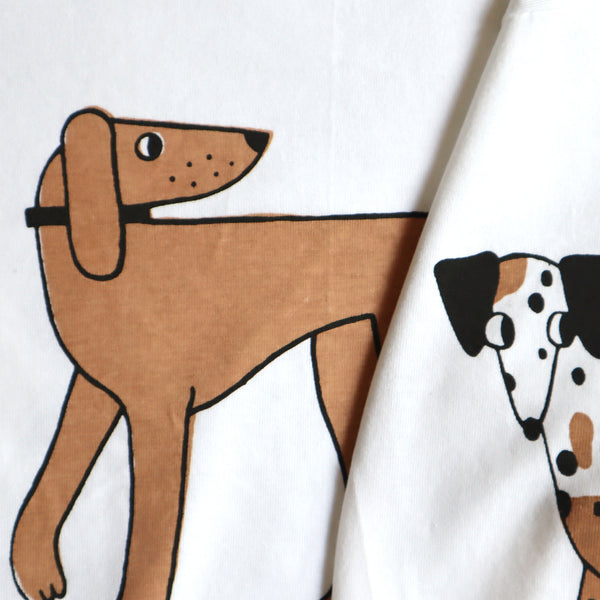 Close Up Detail of Hand Screen Printed White, Brown and Black Dog T-shirt by Eva Stalinski 2020 Pointer and Dalmatian