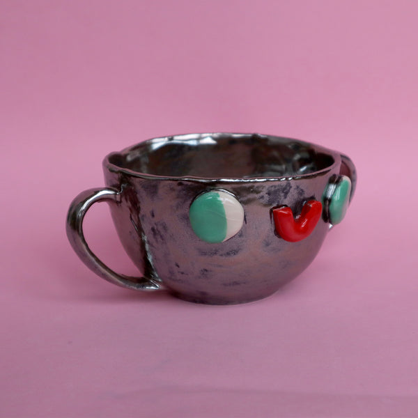 Pewter Silver Two Eared Slipcast Ceramic Mug with a Face by Illustrator Eva Stalinski, 2020. Anthropomorphic Silver Mug.