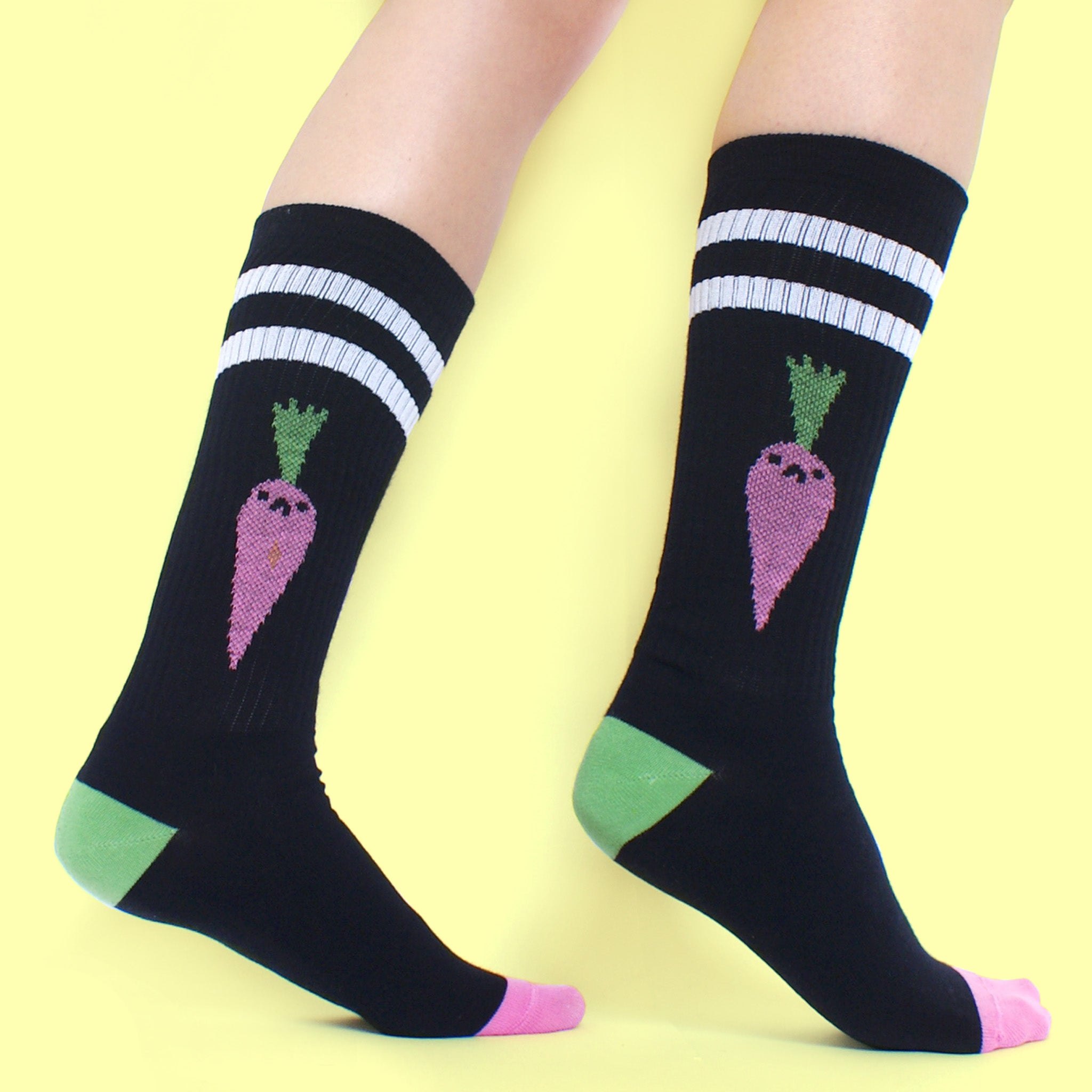 BLACK Bad Carrot Tube Socks (sale) by illustrator Eva Stalinski