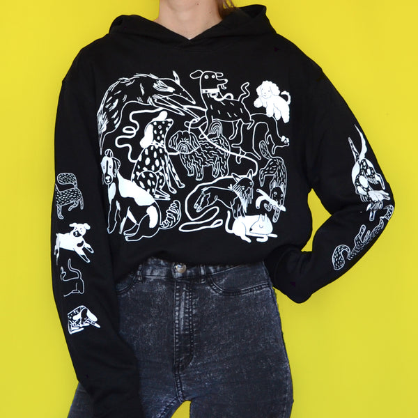 Black and White Dog Park Hoodie (organic cotton)